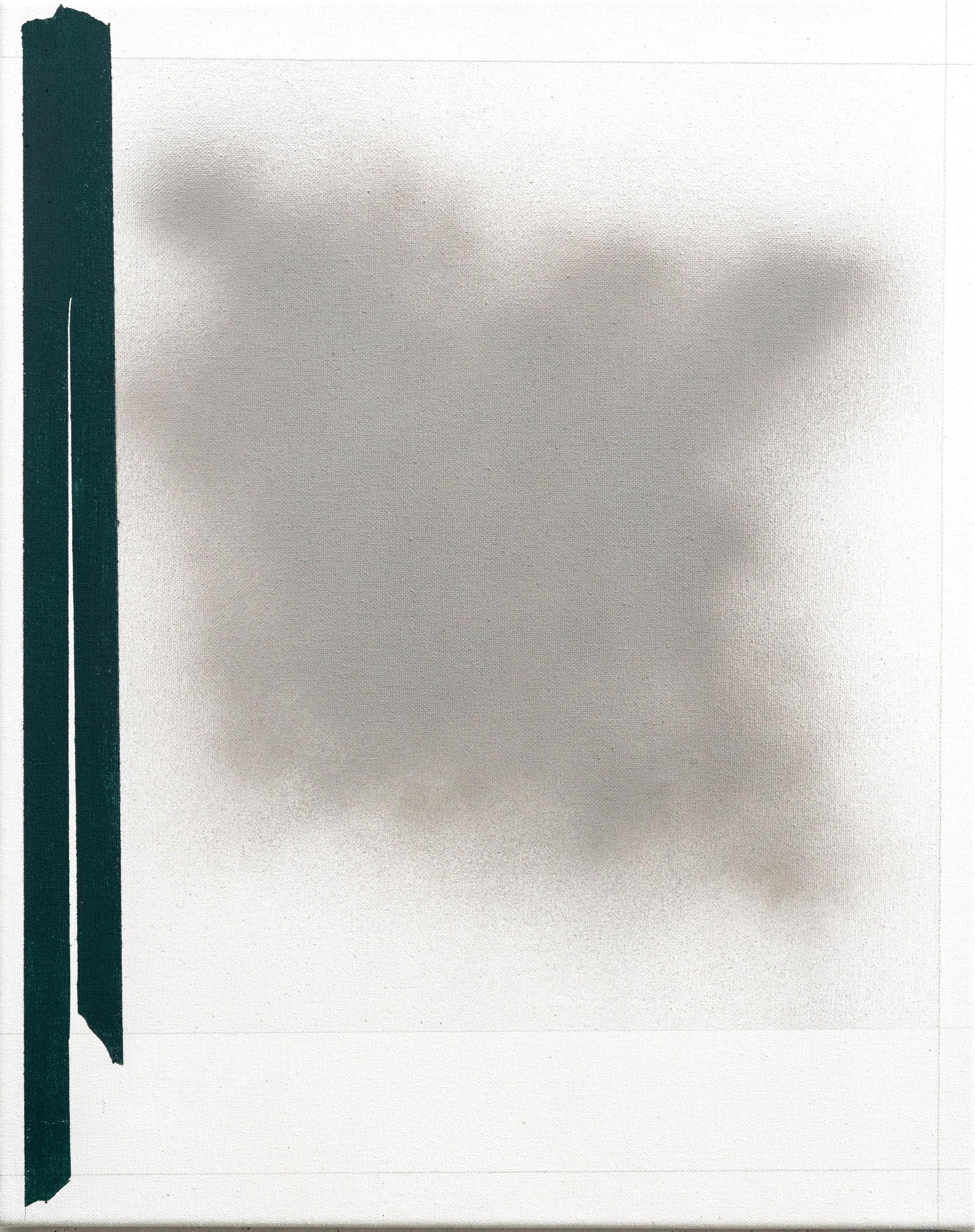 O.T. 2018 Bleistift, Acryl, Lack auf Baumwolle 50x40 cm